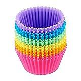 Silicona de Grado Tazas para Hornear Magdalena Moldes Moldes Muffin Liners Moldes Conjuntos (Color : Multicolor)
