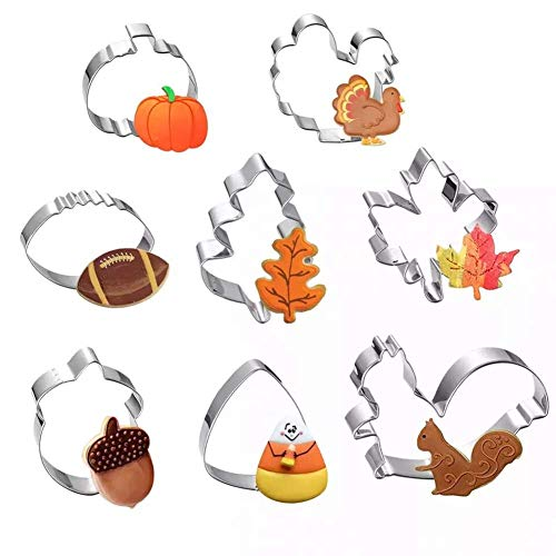 Fall Thanksgiving Cookie Cutters Set - 8 Pieces - Pumpkin, Turkey, Maple Leaf, Oak Leaf,Squirrel,Candy Corn and Acorn- Stainless Steel