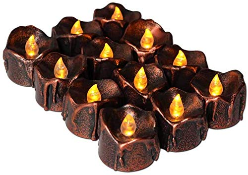 12 Pack Flameless Candle Lights Battery Operated Realistic and Bright Flickering Warm Yellow for Valentines Day, Halloween,LED Tea Lights Candles, Birthday Decoration, Christmas, Fake Candles -