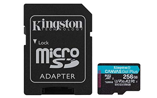 Kingston SDCG3/256GB microSD Speicherkarte ( 256GB microSDXC Canvas Go Plus 170R A2 U3 V30 mit SD Adapter )