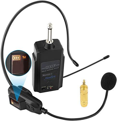 Moukey 拡声器 小型 ワイヤレスマイク ヘッドセットマイク UHF 50m使用範囲 ヘッドセットとハンドヘルド2 in 1 スピーカー/音声増幅器/PAシステム等対応 説明書付 MwmHU-1