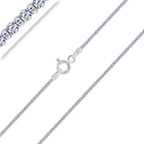 Planetys - Popcorn Kette 925 Sterling Silber Rhodiniert Kette - Halskette - 1.4 mm Breite Längen: 50 cm