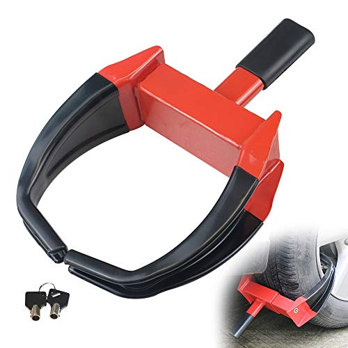 """KAIRAY Security Wheel Clamp Lock - Anti Theft Camper Wheel Boot Tire Claw for Atv'S Motorcycles Golf Cart Trailers Boats Max 10"""" Width Tire Red/Black"""