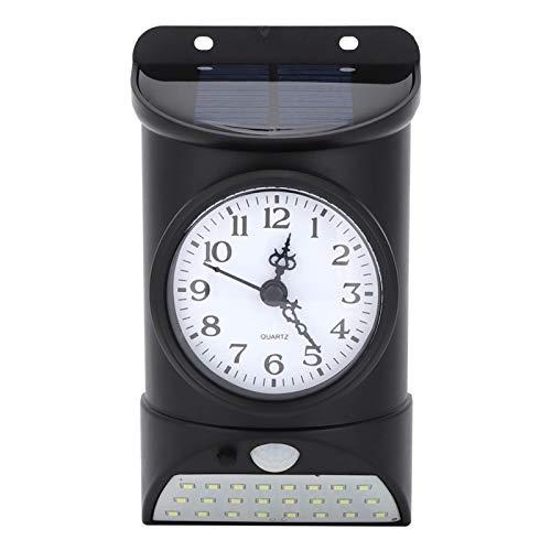 Lámpara y Reloj de Pared Solar 2 en 1, luz de Control de inducción del Cuerpo Humano Impermeable de 28 LED con Reloj para Montaje en Pared al Aire Libre