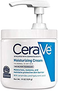 CeraVe Moisturizing Cream | Daily Face and Body Moisturizer for Dry Skin Pump (19 Ounce Pack of 2, Moisturizing Cream)