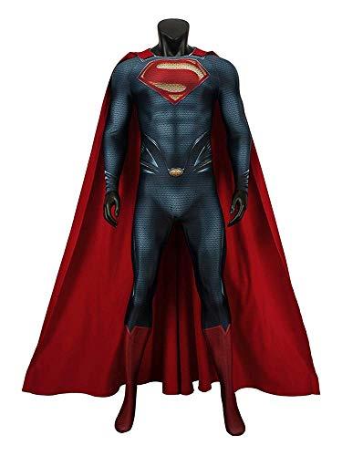 CXYGZLJ Traje de Cuerpo de Acero de Superman con Manto, Halloween Cosplay Traje Ajustado Conjunto de fantasa Fiestas Fiestas de Baile Estilo 3D,L(175~180)