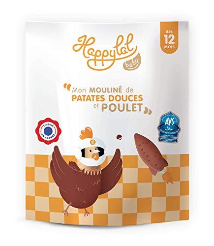Happylal Baby 12 mois - petit pot halal pour Bébé - 90% de bio – Mon mouliné de patates douces et poulet - 1 x 220 g
