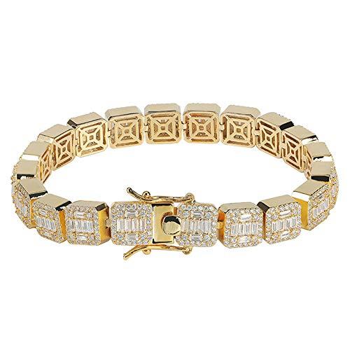 Hip Hop - Pulsera cuadrada para hombre y mujer, diseño de tiras de circón de cristal y regalo de cumpleaños para novio, mamá y papá (oro, plata), 123, dorado, 7inch