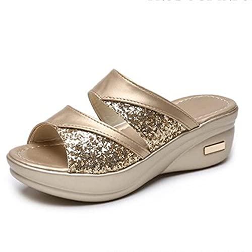 WENHUA Suave Bañarse Sandalias Zapatillas, Antideslizante EVA Masajes Playa Chanclas Sandalias, Pendiente Inferior Gruesa y Zapatos de Playa para Mujer, Zapatos con Solapa, Golden_37