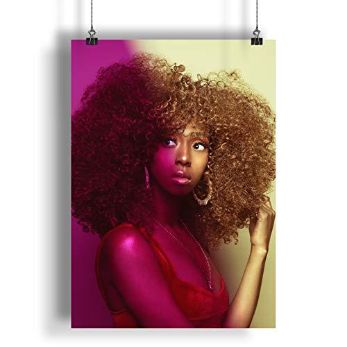 INNOGLEN Bella Ragazza con i Capelli Arricciati in Una Luce Rosa A0 A1 A2 A3 A4 Satin Foto Poster a1711h