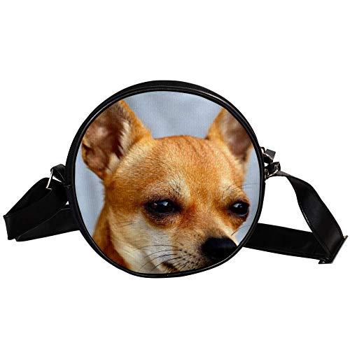 Bennigiry Animal Chihuahua Damen Umhängetasche Rund Umhängetasche Top Handtasche
