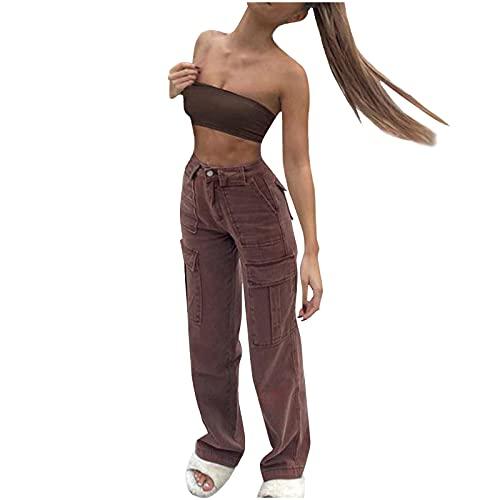 Briskorry Teenager Mädchen Vintage Cordhose Solid Damen Hohe Taille Wide Leg Pants Straight Casual Baggy Y2K Jeans
