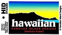 HID ハワイアン ステッカー デカール(ダイアモンドヘッド-ハワイ) ハワイアン雑貨 ハワイ 雑貨 お土産 (ブルー)