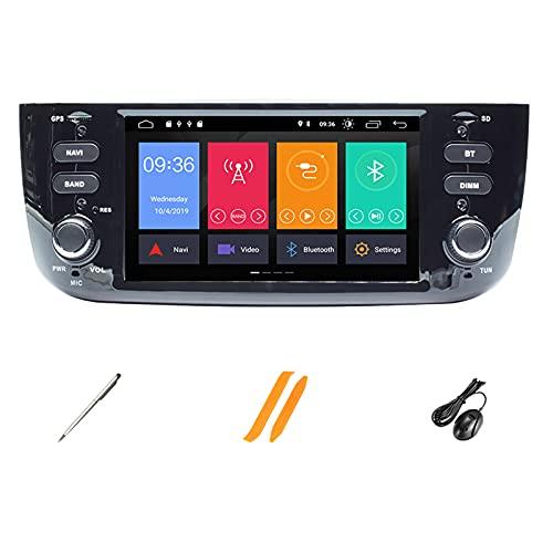 HAZYJT 4 GB 64 GB Auto Radio 1 DIN Android 10 Lettore Dvd per Auto Multimedia Navigazione GPS Audio Dsp Stereo Compatibile con Fiat/Linea/Punto Evo 2012-2015