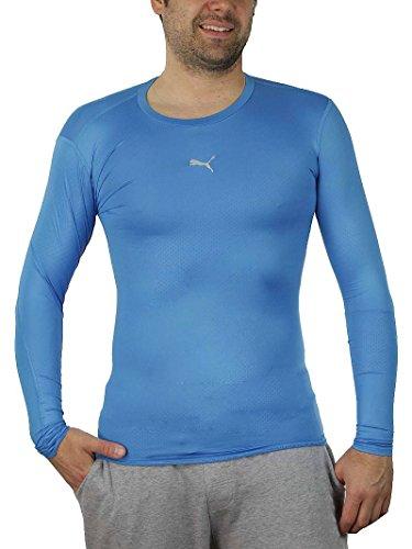 PUMA PB Core Long Sleeve Herren T-Shirt blau Kompressionsshirt Funktionsshirt, Bekleidungsgröße:L