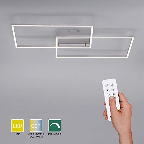 LED Deckenlampe dimmbar, 75x56, Deckenleuchte mit zwei Leuchtrahmen | CCT Farbtemperatursteuerung mit Fernbedienung warmweiß-kaltweiß | Deckenpanel mit Memory-Funktion für Wohnzimmer und Küche