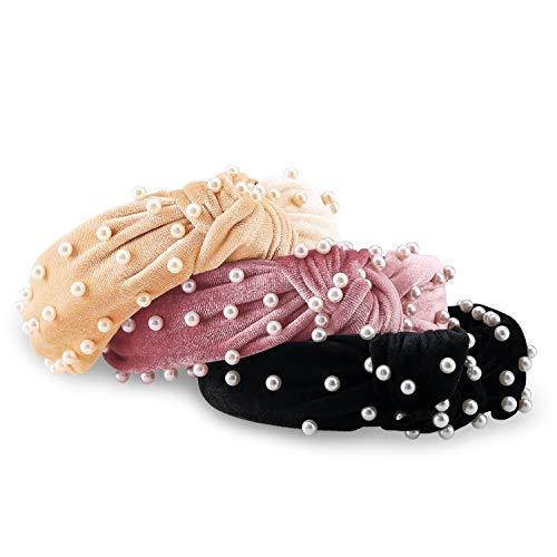 AIEBAO Pearl Headband (3PACK, Black+Beige+Pink)
