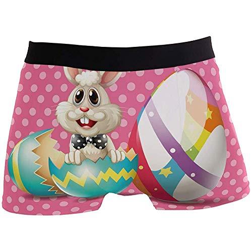 Adamitt Frohe Ostern mit Hasen-Eiern Rosa Herren-Boxershorts für Jungen Jugend Männer Unterwäsche Polyester Spandex Komfort