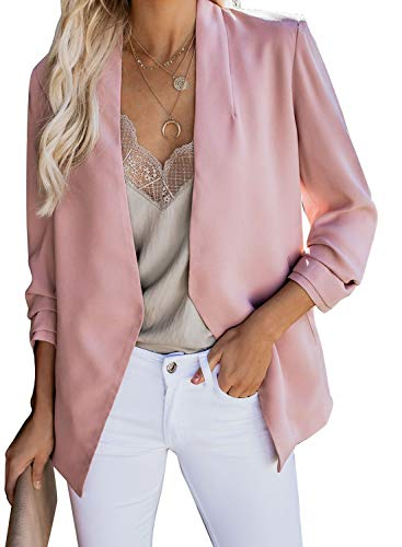 Asvivid Womens Notch Lapel Draped Open Front Pink Blazers Lightweight Slim Fit Professional Stretchy Suit Tops Fall Business Jacket M