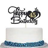 Glitter Black Happy 45th Birthday Cake Topper -- 45th Birthday Wedding Anniversary Cake Topper Party Decoration Supply Ideas