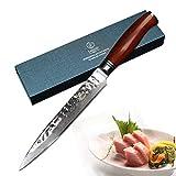 YARENH Cuchillo Damasco 20 cm - Cuchillo Cocina de Acero de Japoneses Damasco & Mango de Madera Dalbergia - Cuchillos de Cocina Profesionales HTT-Serie