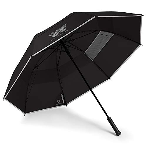 Weatherman Umbrella - Golf Umbrella - Windproof Sports Umbrella Resists Up to 55 MPH Winds - Available in 2 Sizes and 5 Colors (68 inch, Black)