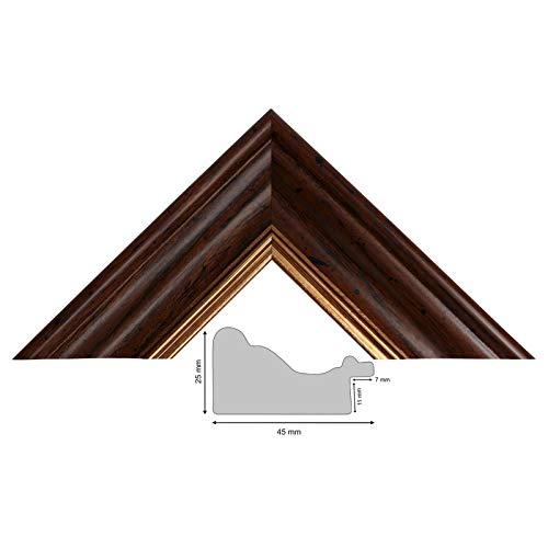 Neumann Bilderrahmen Bilderleiste 367 NO, nußbaum mit Goldkante, 45mm breit, Länge 1 m