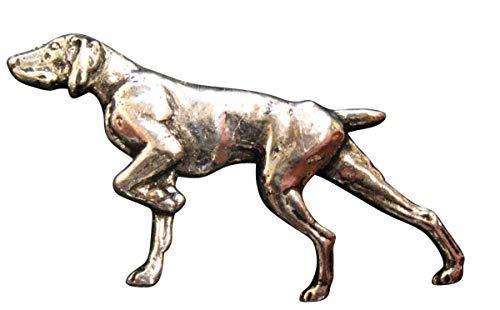 Brazil Lederwaren Ansteckpin Hund auf der Jagd | für den Hut oder das Revers | Perfekt zum Jagd-Outfit | Anstecker Pin Button | Altsilber