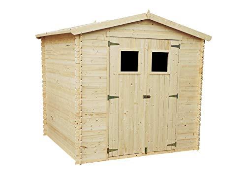 TIMBELA Abri de Jardin en Bois M369 - Stockage extérieur I236xL226xH218 cm/ 4.33 m2 Petit abri à Outils, Local à vélos - Toit imperméable, fenêtres