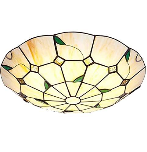 JYTBD Iluminación de decoración artística, 30,6 cm, estilo Tiffany pastoral, vidriera, montaje empotrado, lámpara de techo LED, para sala de estar, dormitorio, entrada LED, luz de techo, luz LED