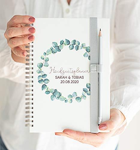 Hochzeitsplaner - Wedding Planner PERSONALISIERT Eukalyptus Leaves -...