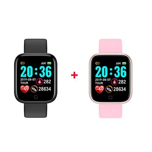 XXY SmartWatch Smart Watch Hombres Mujeres Presión Arterial Tasa del Corazón Bluetooth Fitness Watch Smart Pulsera para Android iOS (Color : Watermelon Red)