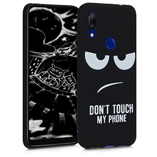kwmobile Funda Compatible con Xiaomi Redmi 7 - Carcasa de TPU Don't Touch my Phone en Blanco/Negro