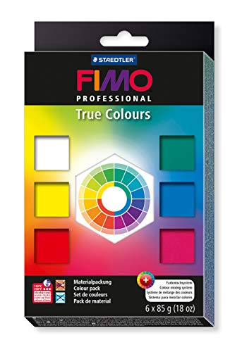 STAEDTLER 8003 01 Fimo Professional Colours Pack, 85 g x 6, True Colors