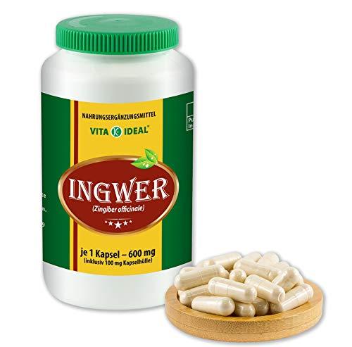 VITAIDEAL ® Ingwer (zingiber officinale) 360 Kapseln je 600mg, aus rein natürlichen Kräutern, ohne Zusatzstoffe