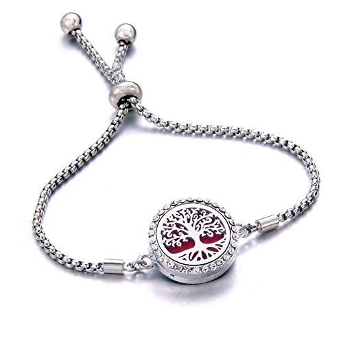 dingtian Bracelet Perfume Bracelet Essential Oil Diffuser Aromatherapy Locket Bracelet Tree of Life 316L Stainless Steel Diffuser Bracelet