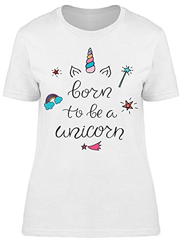 Born To Be A Unicorn Magic Wand Camiseta feminina, Branco, G