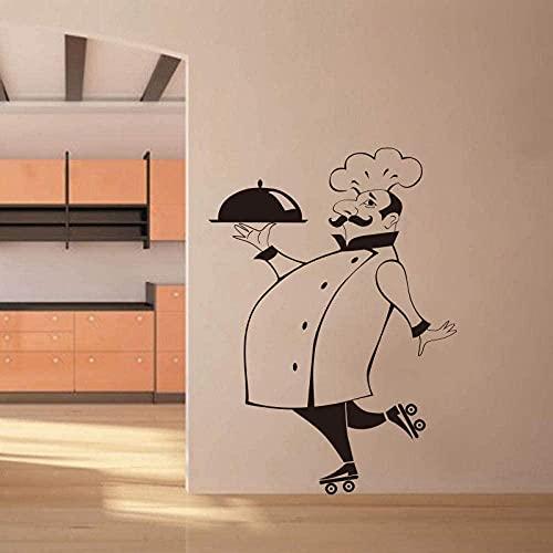 Pegatinas de pared divertidas de Chef para azulejos de cocina, paredes de vidrio, adhesivo de vinilo impermeable para pared, decoración del hogar, calcomanías de pared, decoración de la casa, 56x80cm