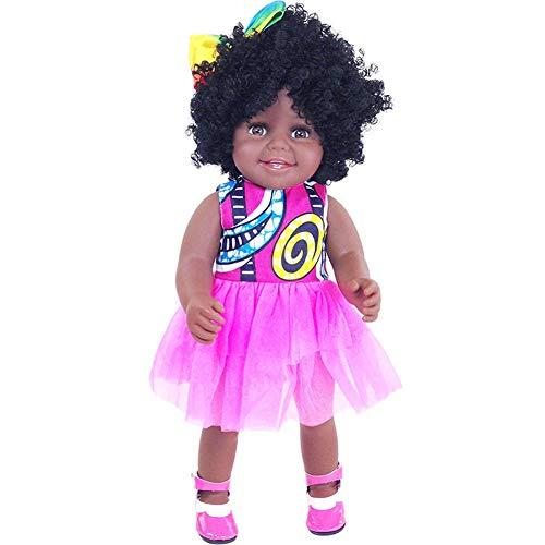 QqHAO Baby Doll, Artificial Black Vinyl Puppe, Realistisch Neugeborene Puppe Interaktives Spiel Kleinkind-Junge-Spielzeug-Geburtstags-Geschenk (Rosa Kleid)