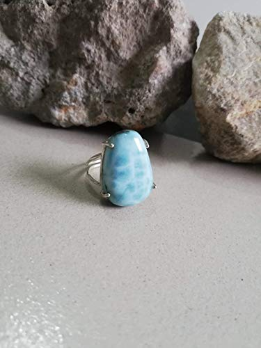 Larimar Ring 925 Sterling Silver Ring Handmade Jewelry Birthstone Jewelry Midi Ring Stone Ring Silver Jewellry