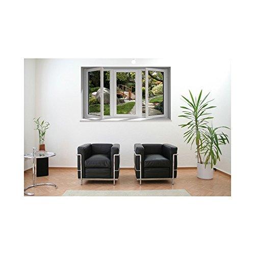 Adesivi trompe l'oeil finestra giardino giapponese – L 100 x H 60 cm