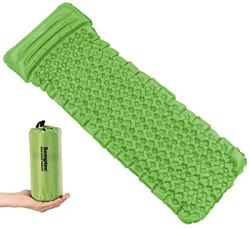 Semptec Urban Survival Technology Isomatte faltbar: Outdoor-Luftmatratze mit integriertem Kopfkissen, aufblasbar, grün (Campingmatratzen)