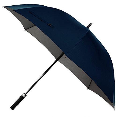 Rainlax Windproof Golf Umbrella 62 inch Oversize Canopy Automatic Open Large Outdoor Golf umbrella Rain&Wind Repellent Sun Protection Stick Umbrellas (Navy Blue)