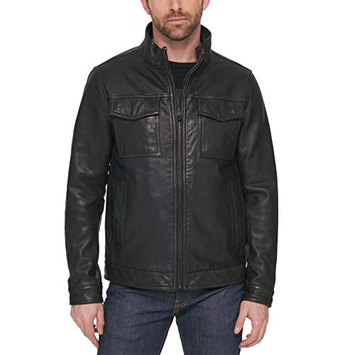 Tommy Hilfiger Men's Big Open Bottom Classic Leather Jacket, New Black, Large Tall