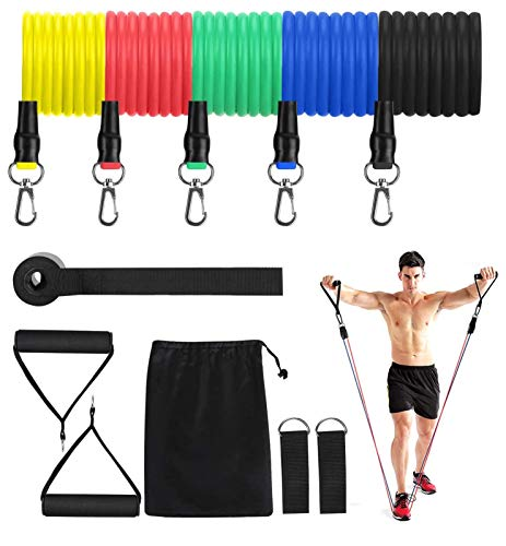 FEGSY 5 in 1 Exercise Resistance Toning Tube Set with Door Anchor, Foam Handle, and Ankle Strap for Stretching, Workout, Pilates, Fitness,and Exercise