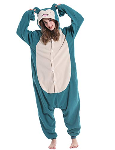 vavalad Adult Snorlax Onesie Pajamas Cosplay Halloween Christmas Homewear Sleepwear Jumpsuit Costume Women Men