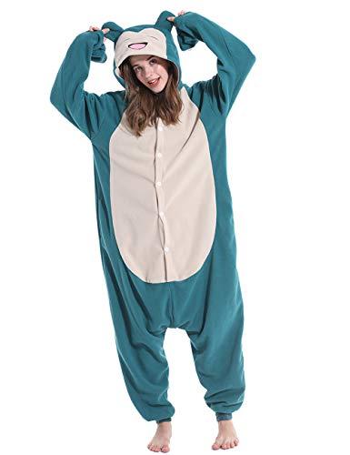 vavalad Adult Snorlax Plush One Piece Pajamas Christmas Cosplay Animal Homewear Sleepwear Jumpsuit Costume Women Men