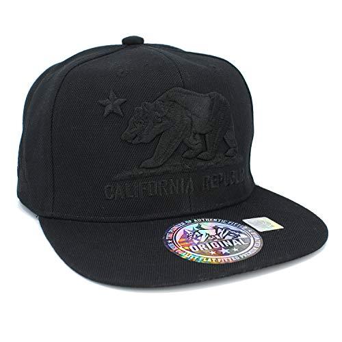 Embroidered California Republic with Bear Claw Scratch Snapback Cap (Black/Black/Black)