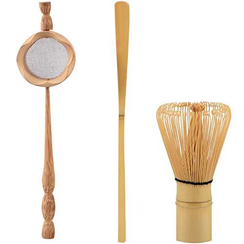 Summerwindy Colador de Té de Bambú Natural Cepillo de Batir Matcha Juego de Cucharada de Batidor de Té Verde en Polvo Juego de Utensilios de Té Accesorios de Cocina 3 Piezas