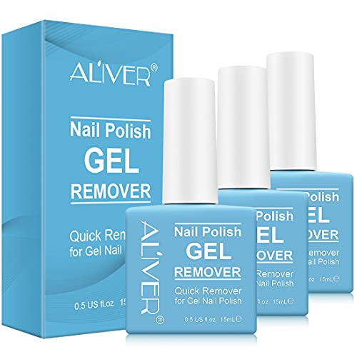 Gel Remover for Nail, Gel Nail Remover - Quickly & Easily Remove Nail Polish in 5-6 Minutes, No Need Tin Foil & Clip and Don't Hurt Nails(3 Pack)